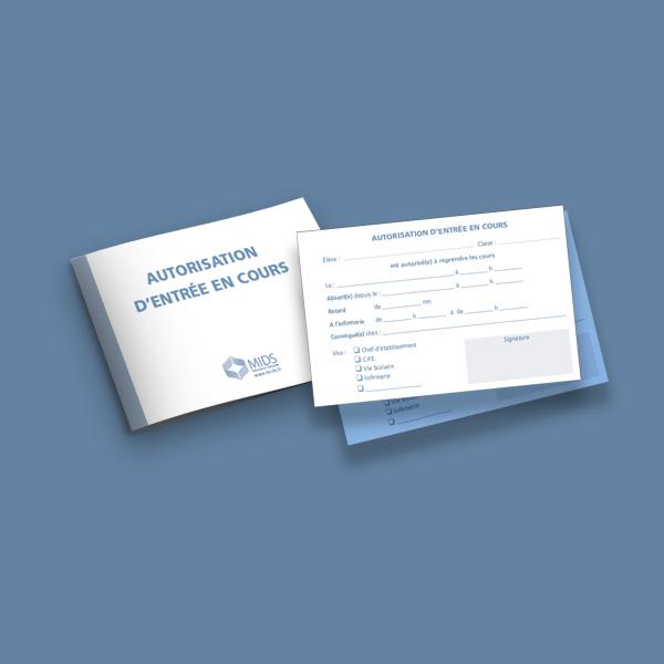 Carnet autorisation d'entrée en cours