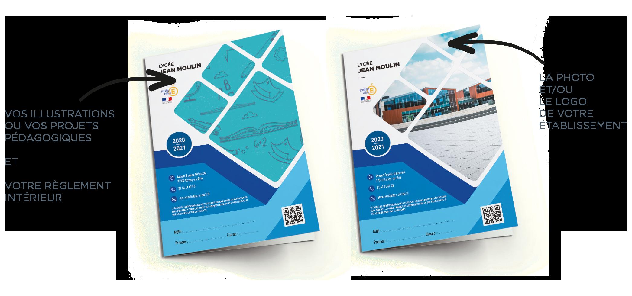 Fournissez vos fichiers pour personnaliser votre carnet de correspondance