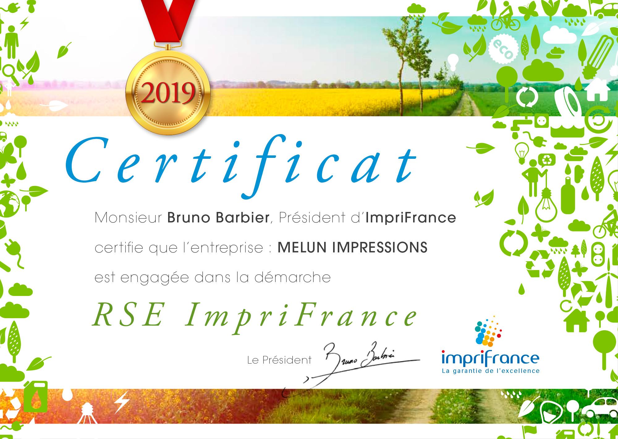 Certificat RSE 2019